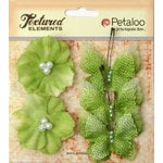 Petaloo - Burlap and Canvas Collection - Floral Embellishments - Burlap Butterflies and Blossoms - Pistachio