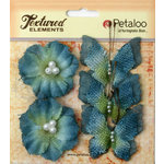 Petaloo - Burlap and Canvas Collection - Floral Embellishments - Burlap Butterflies and Blossoms - Denim Blue