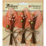 Petaloo - Burlap and Canvas Collection - Floral Embellishments - Burlap Picks - Apricot