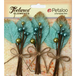 Petaloo - Burlap and Canvas Collection - Floral Embellishments - Burlap Picks - Teal
