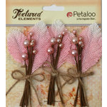 Petaloo - Burlap and Canvas Collection - Floral Embellishments - Burlap Picks - Pink