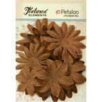 Petaloo - Burlap and Canvas Collection - Floral Embellishments - Daisy Flower Layers - Natural