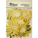 Petaloo - Burlap and Canvas Collection - Floral Embellishments - Daisy Flower Layers - Yellow