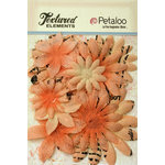 Petaloo - Burlap and Canvas Collection - Floral Embellishments - Daisy Flower Layers - Apricot