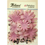 Petaloo - Burlap and Canvas Collection - Floral Embellishments - Daisy Flower Layers - Lavender
