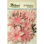 Petaloo - Burlap and Canvas Collection - Floral Embellishments - Daisy Flower Layers - Pink