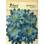 Petaloo - Burlap and Canvas Collection - Floral Embellishments - Daisy Flower Layers - Denim Blue