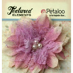 Petaloo - Burlap and Canvas Collection - Floral Embellishments - Burlap Birdsnest Flower - Lavender