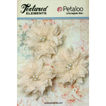 Petaloo - Burlap and Canvas Collection - Floral Embellishments - Burlap Birdsnest Flower - Ivory - 3 Pack