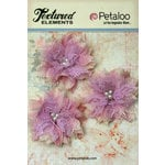 Petaloo - Burlap and Canvas Collection - Floral Embellishments - Burlap Birdsnest Flower - Lavender - 3 Pack
