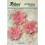Petaloo - Burlap and Canvas Collection - Floral Embellishments - Burlap Birdsnest Flower - Pink - 3 Pack
