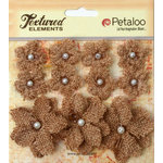 Petaloo - Burlap and Canvas Collection - Floral Embellishments - Burlap Flowers - Natural