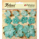 Petaloo - Burlap and Canvas Collection - Floral Embellishments - Burlap Flowers - Teal