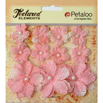 Petaloo - Burlap and Canvas Collection - Floral Embellishments - Burlap Flowers - Pink