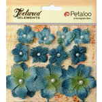 Petaloo - Burlap and Canvas Collection - Floral Embellishments - Burlap Flowers - Denim Blue