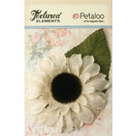 Petaloo - Textured Elements Collection - Floral Embellishments - Burlap Giant Sunflower - Ivory