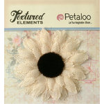 Petaloo - Textured Elements Collection - Floral Embellishments - Burlap Medium Sunflower - Ivory