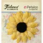 Petaloo - Textured Elements Collection - Floral Embellishments - Burlap Medium Sunflower - Yellow