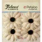 Petaloo - Textured Elements Collection - Floral Embellishments - Burlap Small Sunflowers - Ivory