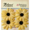 Petaloo - Textured Elements Collection - Floral Embellishments - Burlap Small Sunflowers - Yellow