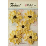 Petaloo - Textured Elements Collection - Floral Embellishments - Burlap Wild Sunflowers - Yellow