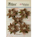 Petaloo - Textured Elements Collection - Christmas - Floral Embellishments - Burlap Poinsettias - Natural