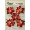 Petaloo - Textured Elements Collection - Christmas - Floral Embellishments - Burlap Poinsettias - Red