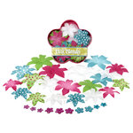 Petaloo - Flora Doodles - Dahlia Box Blend - Large - Teal Fuschia and White, CLEARANCE