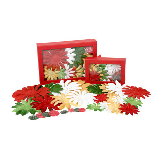 Petaloo - Flora Doodles Collection - Handmade Flowers - Value Pack - Glittered Daisy Blend - Traditional Christmas, CLEARANCE