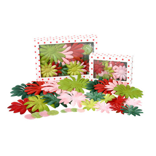 Petaloo - Flora Doodles Collection - Handmade Flowers - Value Pack - Glittered Daisy Blend - Jolly Christmas, CLEARANCE