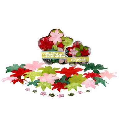 Petaloo - Flora Doodles Collection - Handmade Flowers - Glittered Dahlia Box Blend - Jolly Christmas, CLEARANCE