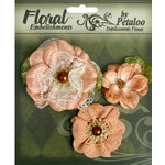 Petaloo - Chantilly Collection - Velvet and Lace Flowers - Peach