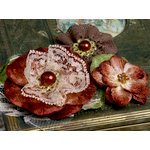 Petaloo - Chantilly Collection - Velvet and Lace Flowers - Brown