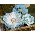 Petaloo - Chantilly Collection - Velvet and Lace Flowers - Blue
