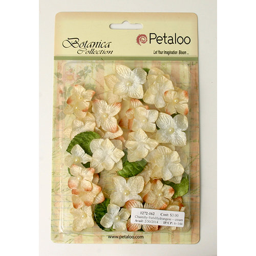 Petaloo - Chantilly Collection - Velvet Hydrangeas - Cream