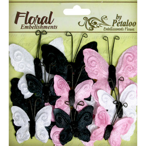 Petaloo - Chantilly Collection - Velvet Butterflies - Pink Poodle