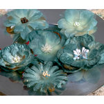 Petaloo - Chantilly Collection - Mixed Blooms Flowers - Blue Green