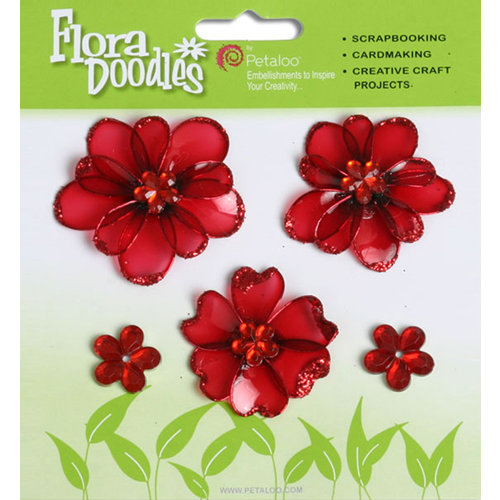 Petaloo - Flora Doodles Collection - Jeweled Candies - Mini Flowers - Red