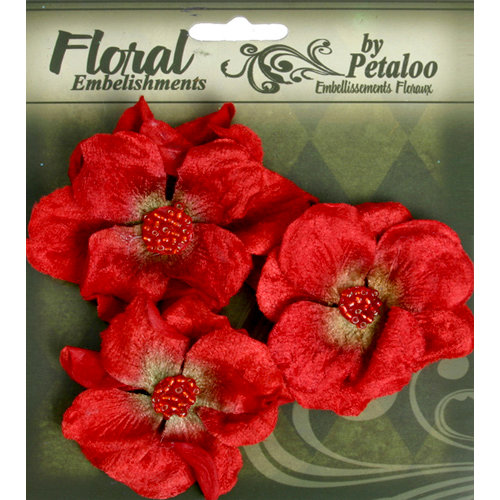 Petaloo - Chantilly Collection - Velvet Wild Roses - Red