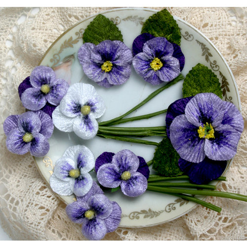 Petaloo - Chantilly Collection - Velvet Pansies - White and Purple