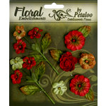 Petaloo - Chantilly Collection - Velvet Mini Blossoms - Red
