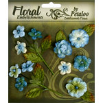 Petaloo - Chantilly Collection - Velvet Mini Blossoms - Dark Blue