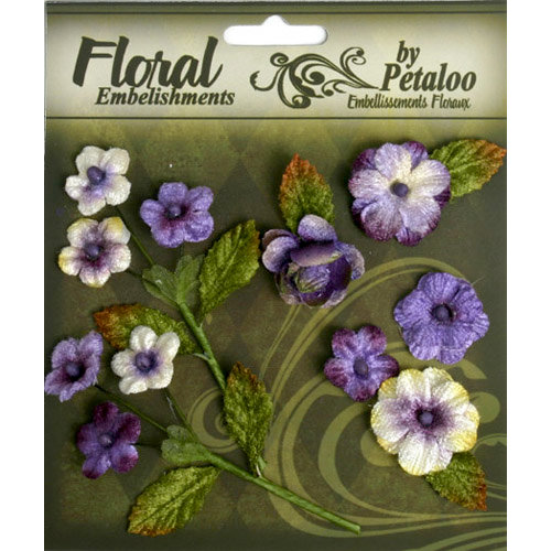 Petaloo - Chantilly Collection - Velvet Mini Blossoms - Amethyst
