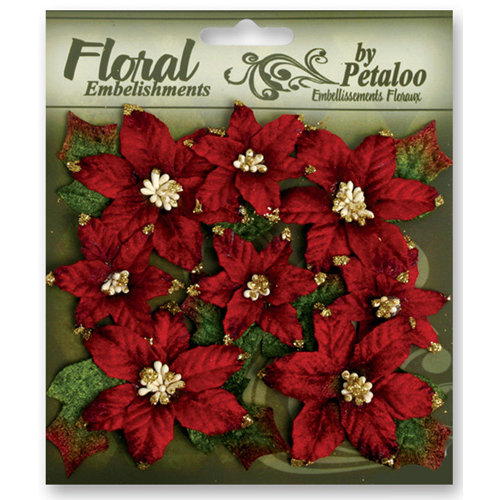 Petaloo - Chantilly Collection - Velvet Floral Embellishments - Poinsettias - Red