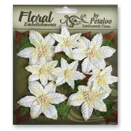 Petaloo - Chantilly Collection - Velvet Floral Embellishments - Poinsettias - White