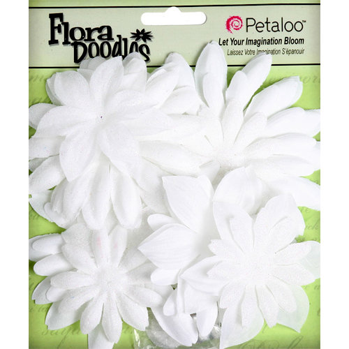 Petaloo - Flora Doodles Collection - Layering Fabric and Glitter Flowers - Daisies - Large - White