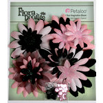 Petaloo - Flora Doodles Collection - Layering Fabric Flowers - Daisies - Black and Pink