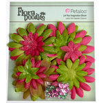Petaloo - Flora Doodles Collection - Layering Fabric Flowers - Daisies - Fuchsia and Green