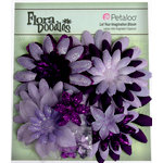 Petaloo - Flora Doodles Collection - Layering Fabric Flowers - Daisies - Purple and Lavender