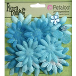 Petaloo - Flora Doodles Collection - Layering Fabric Flowers - Daisies - Soft Blue